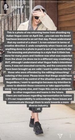 Gigi Hadid's Instagram story regarding Vogue Italia controversy