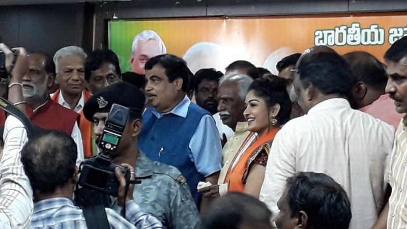 Actress Maadhavi Latha joins BJP, Nithin Ghadkari welcomes her