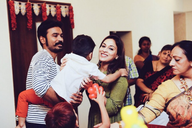 Dhanush and Aishwarya with Birthday Boy Ved Krishna (Soundarya's son)