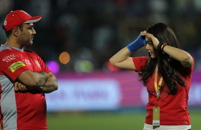 Preity Zinta and KXIP mentor Virendra Sehwag exchange words of anger