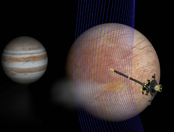 Artist's illustration of Jupiter and Europa (in the foreground) with the Galileo spacecraft