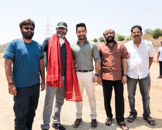 Jr NTR and Trivikram Srinivas with other members of NTR 28
