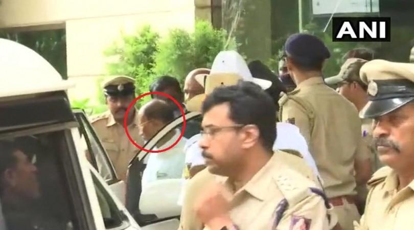 Congress MLA Pratap Gowda Patil leaves from Goldfinch Hotel