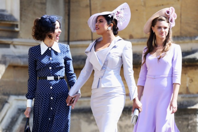 Priyanka Chopra sports chic dress suit at royal wedding