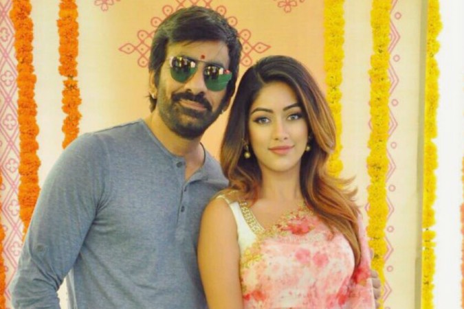 Anu Emmanuel with Ravi Teja at the lauanch of Amar Akbar Anthony