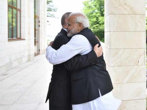 Prime Minister Narendra Modi meets Russian President Vladimir Putin in Sochi, Russia on May 21, 2018