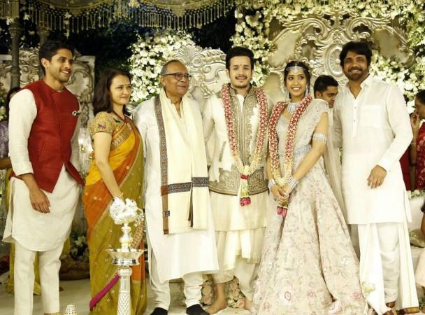 Shriya Bhupal and Akhil Akkineni with family members at their engagement