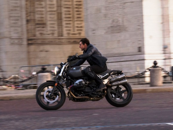 Tom Cruise riding BMW R nineT Scrambler