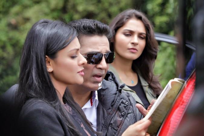 Pooja Kumar, Kamal Haasan and Andrea in Vishwaroopam 2
