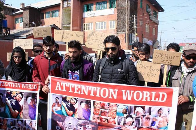 Kashmir's pellet victims stage protest in Srinagar