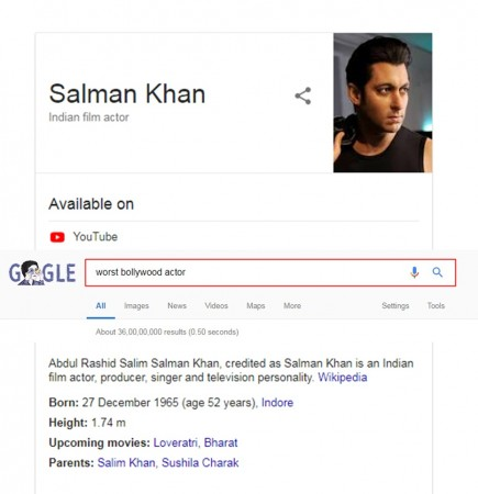 Salman Khan, Google search results