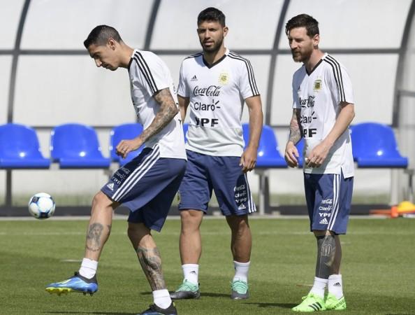 Angel Di Maria Sergio Aguero Lionel Messi Argentina