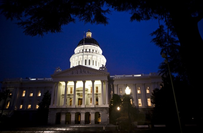 Exterior shot of State Capitol is seen as California legislators work late into the night.