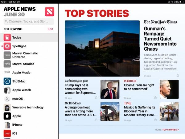 iPad's News App in iOS 12