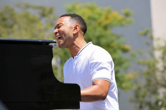 John Legend performs 'Preach' at the anti-Trump protest in Los Angeles, California.