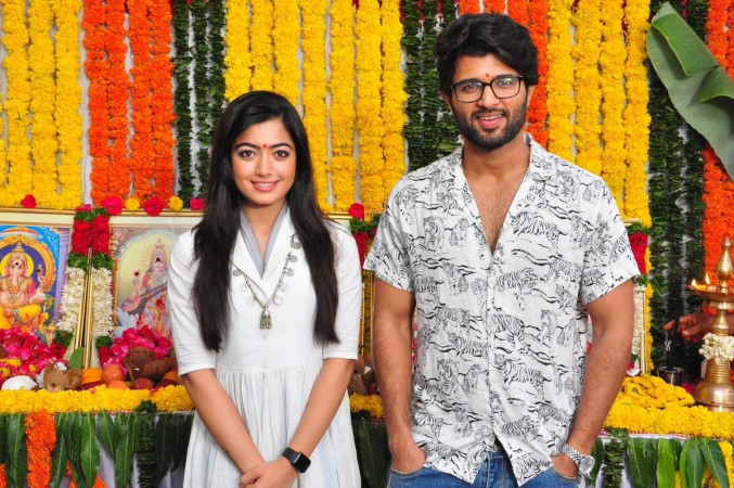 Vijay Deverakonda and Rashmika Mandanna at Dear Comrade launch