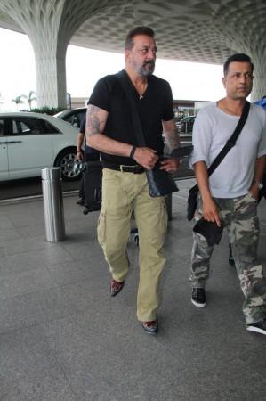 Sanjay Dutt with Paresh Ghelani at Mumbai airport