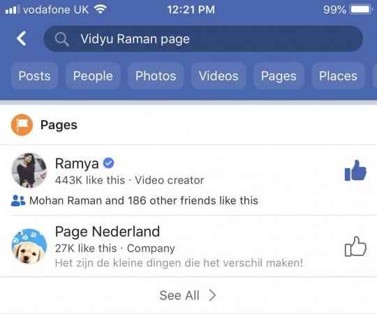 Vidyullekha Raman aka Vidyu Raman's Facebook account hacked