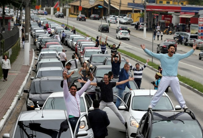 Uber drivers protest in Brazil