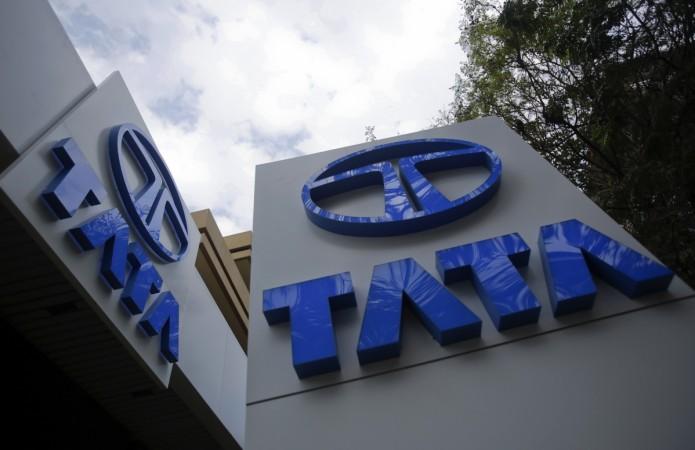 Tata Motors logos are seen at their flagship showroom