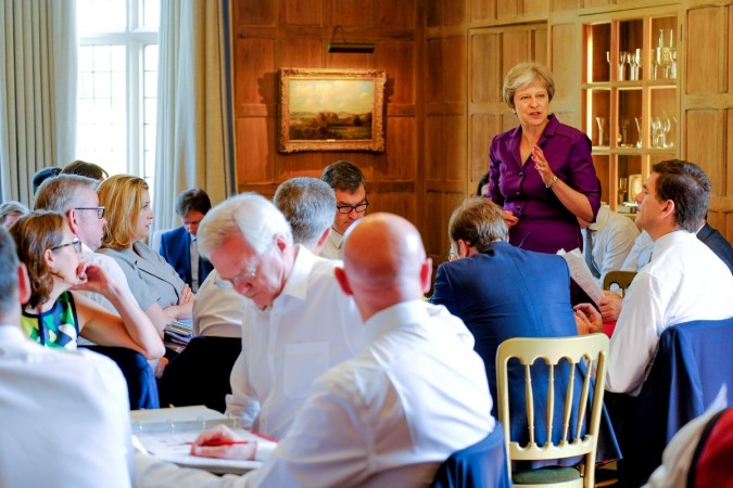 Britain's Prime Minister Theresa May commences a meeting with her cabinet