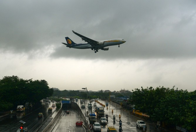 An aircraft of India's Jet Airways lands