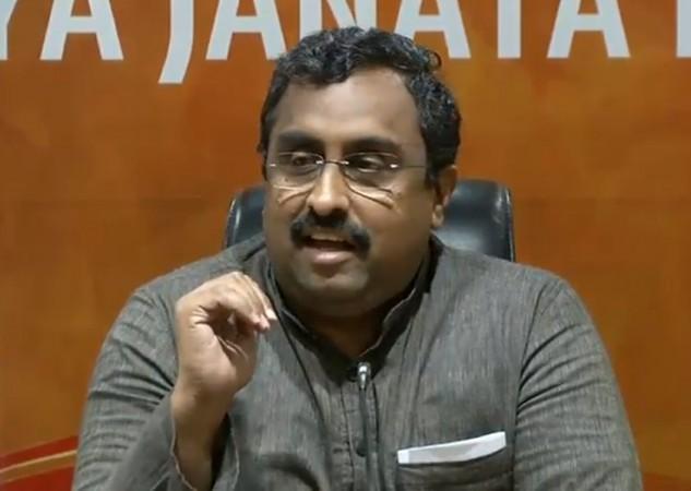 BJP leader Ram Madhav addresses a press conference in New Delhi