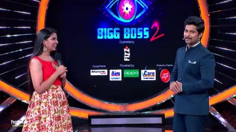 Shyamala with host Nani on Bigg Boss Telugu 2