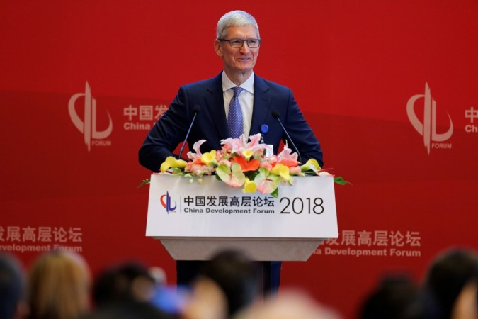 Tim Cook speaks at the China Development Forum