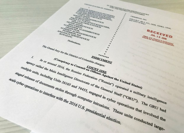A copy of the grand jury indictment against 12 Russian intelligence officers
