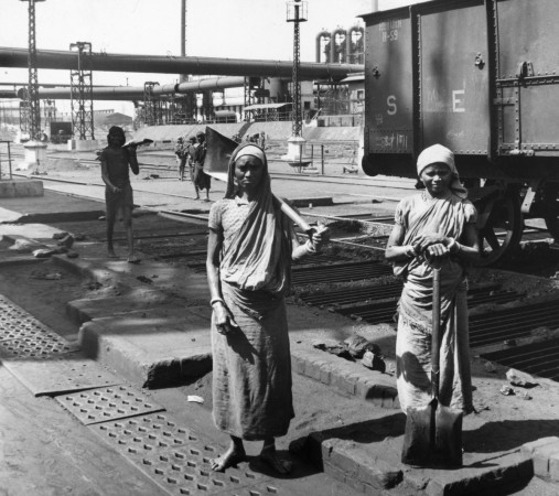 Women workers at a steel mill at Jamshedpur in 1957.