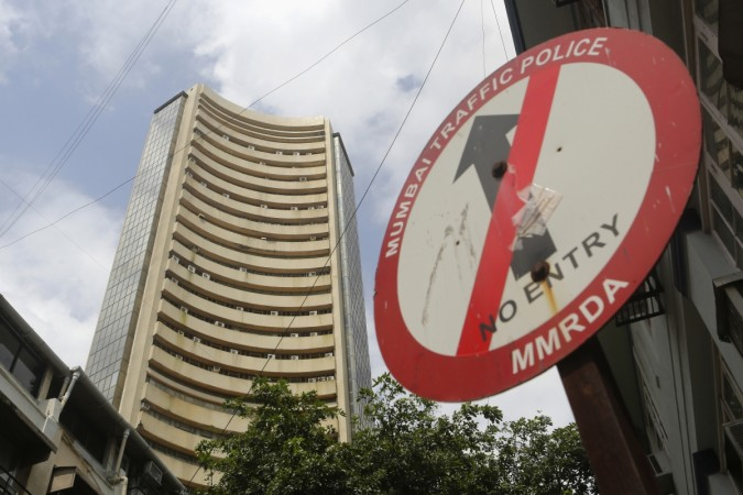 A road sign is seen next to Bombay Stock Exchange (BSE) building in Mumbai
