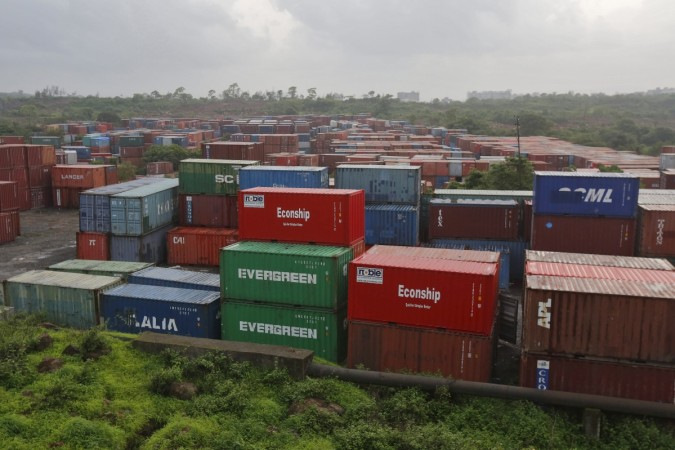 Cargo containers are seen stacked outside the container terminal of Jawaharlal Nehru Port Trust