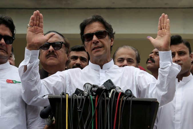 Imran Khan speaks to media