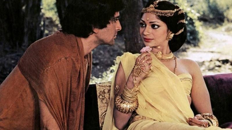 Shashi Kapoor and Simi Garewal in a movie
