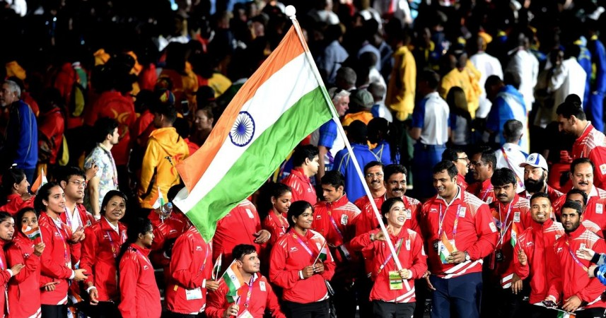 The Indian contingent at the closing ceremony of the 2018 Commonwealth Games