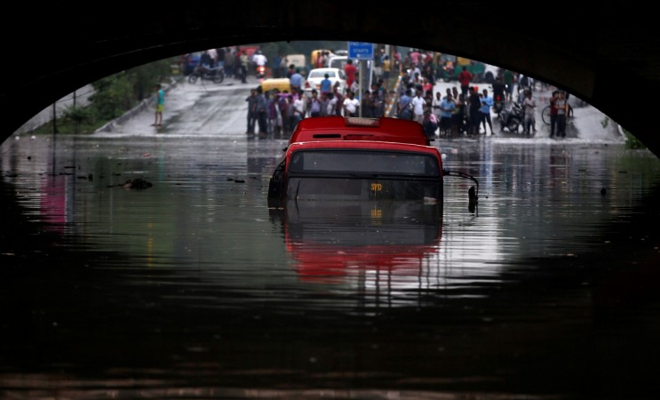 Submerged bus in Delhi floods