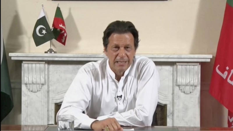 Imran Khan gives a speech as he declares victory in the general election