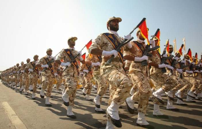 Iranian revolutionary guard march during a parade