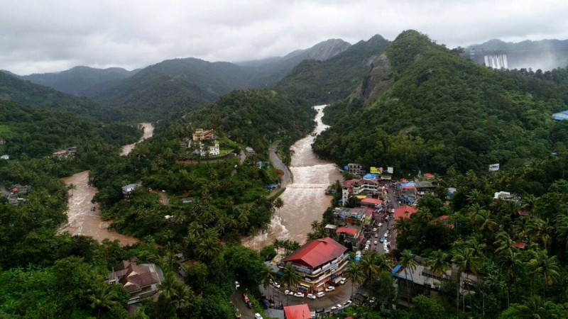 Aerial view of flood affected areas in Kerala