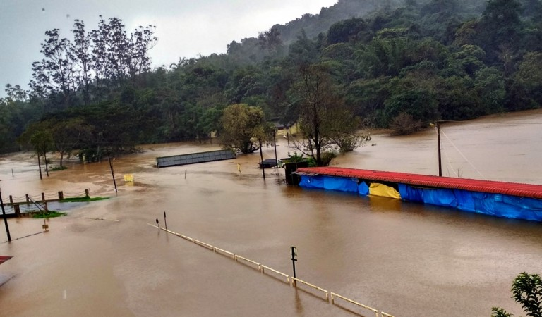 Bhagamandala temple in Coorg inundated