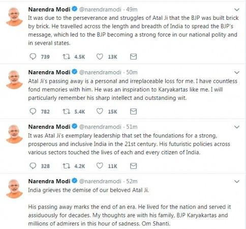 Modi tweet on Atal