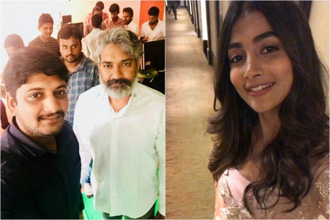 SS Rajamouli and Pooja Hegde at Prabhas 20 launch