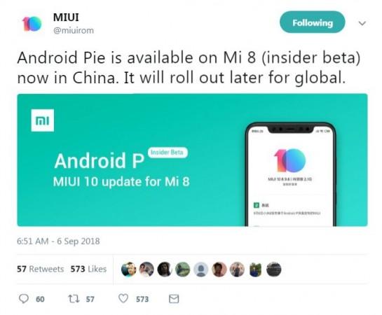 Xiaomi, Mi 8, Android Pie, MIUI 10
