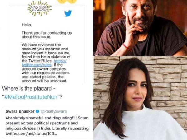 Swara Bhasker reports Vivek Agnihotri tweet