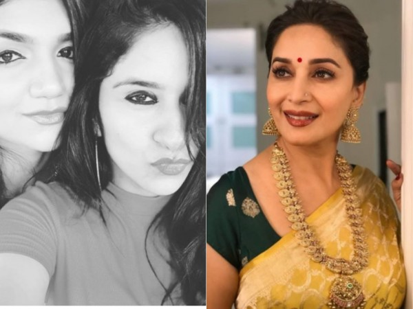 Bigg Boss 12 contestants Kriti Verma and Surbhi Rana, and Madhuri Dixit-Nene