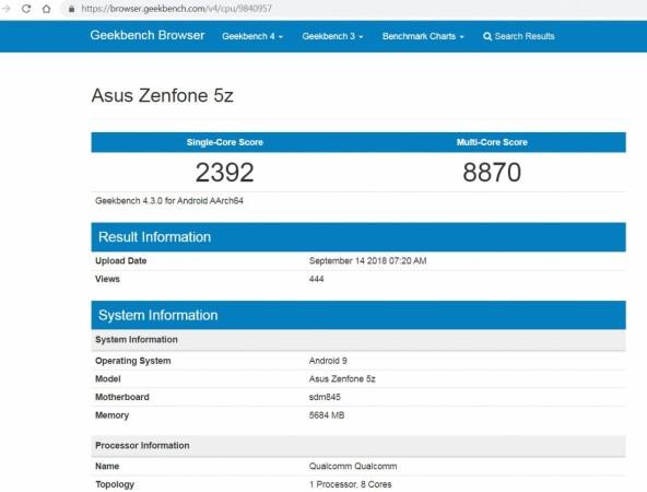 Asus, Zenfone 5Z, performance, Android Pie, Geekbench 4