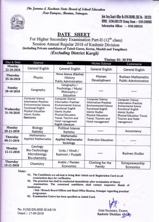 JKBOSE 10th and 12th class date sheet 2018 out: Exams from October