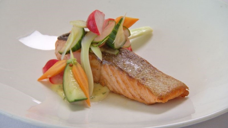Seared Salmon with Pickles and Aioli
