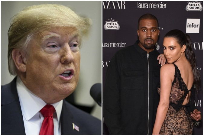 Donald Trump(L)    Kanye West and Kim Kardashian